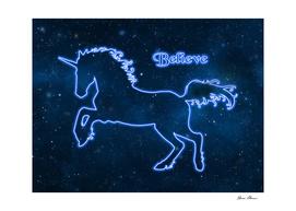 Blue Neon Light Unicorn TEXT BELIEVE