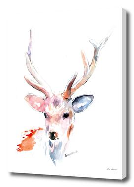 White Deer Watercolor Painting