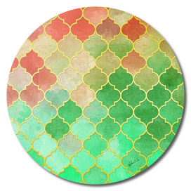 Golden Stained Glass Green and Red