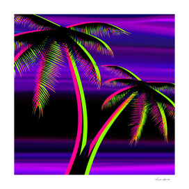 PALM TREES VIOLET SUNSET