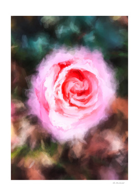 pink rose with green and brown background