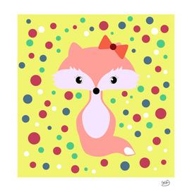 Cute fox among colorful bubbles