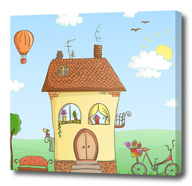 Cartoon house with a bike and balloon