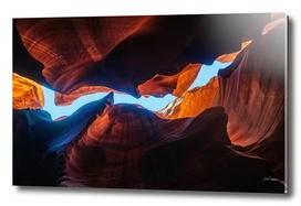 Looking up at Antelope Canyon