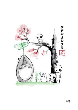 Growing Trees sumi-e