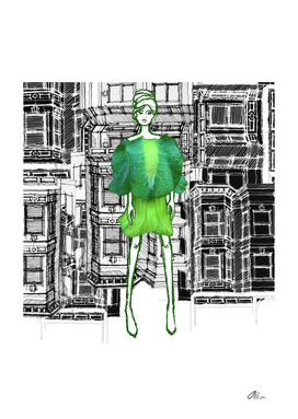 Green Cup Saucer Vine Fashion Illustration