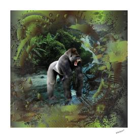 Gorilla Rain Forest Waterfall Collage