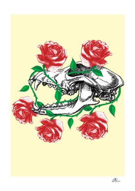 Wolf Skull entangled in roses.