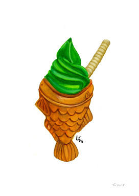 Taiyaki with matcha ice cream