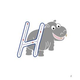 Animal alphabet, letter H: Hipopotamus