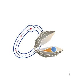 Animal alphabet, letter O:  Oyster