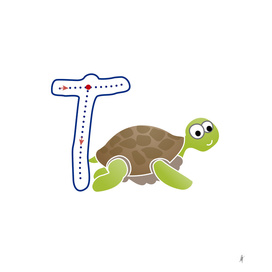 Animal alphabet, letter T: Tortoise