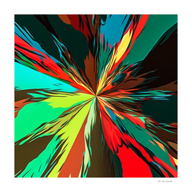 psychedelic geometric painting abstract in red brown green
