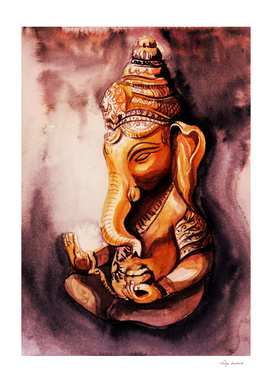 Ganesha watercolor. Meditation concept.