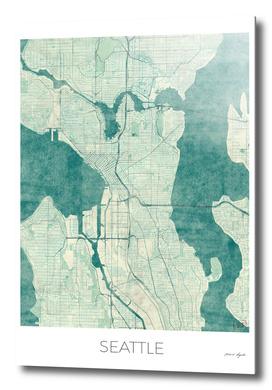 Seattle Map Blue