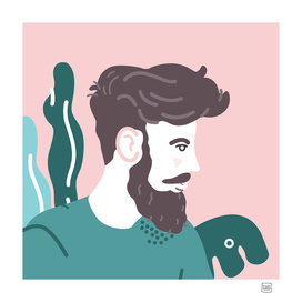 Bearded Man in Pink