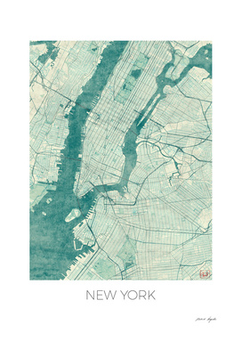 New York Map Blue