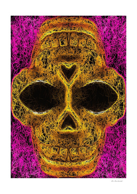 psychedelic geometric painting golden skull head portrait