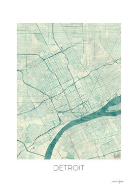 Detroit Map Blue
