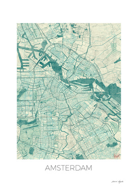 Amsterdam Map Blue