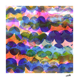 Abstract waves marine watercolor