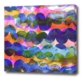 Abstract waves marine watercolor