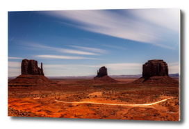 Bright Night at Monument Valley