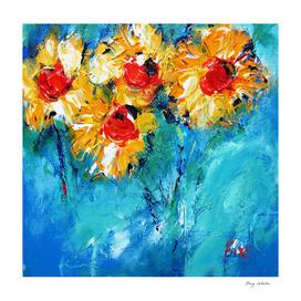 sunflowers on denim blue