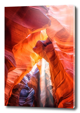 Ghostly light beam at Antelope Canyon