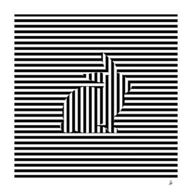 Rabbit on Stripes