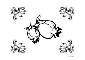 ornamental lineart pomegranate