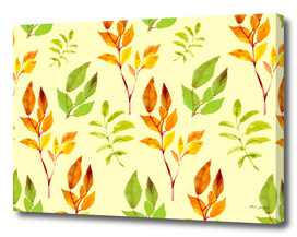 autumn watercolor leaves pattern
