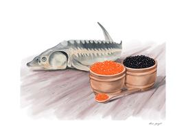 sturgeon fish and caviar hand painting