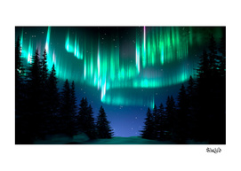 Aurora Borealis in Snowy Forest