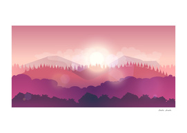 Mountain Nature Landscape, Vector Illustration