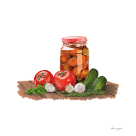 jar pickle mix hand painting
