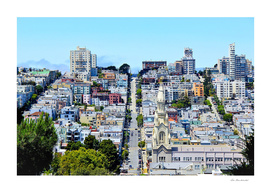 city view with blue sky at San Francisco, USA