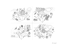 Four seasons lineart illustrations