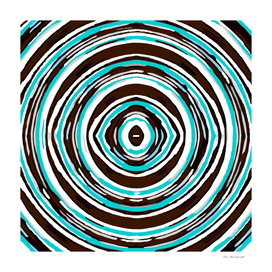 psychedelic geometric graffiti circle pattern in blue brown