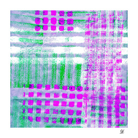 Odd Plaid Pattern In Fuchsia, Green, Blue & White