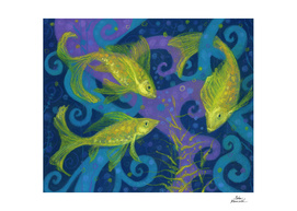 Golden Fishes, underwater creatures, blue & yellow
