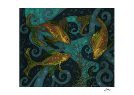 Golden Fishes, underwater creatures, black, teal & yellow