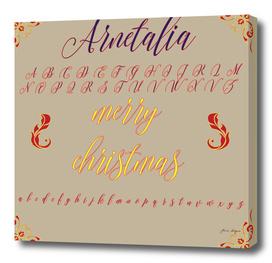 MERRY CHRISTMAS hand lettering calligraphic brush fon