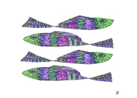 Four Green Blue Purple Painted Fish On White Back