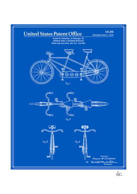Tandem Bicycle Patent - Blueprint