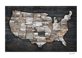USA States Map - White