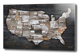 USA States Map - White