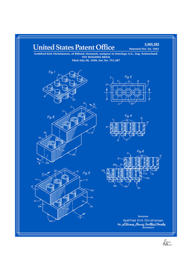 Toy Building Brick Patent - Blueprint