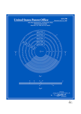 Phonograph Record Patent - Blueprint