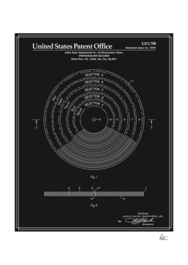 Phonograph Record Patent - Black